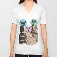 woodland V-neck T-shirts featuring Woodland Walk by Ginger Pigg Art & Design