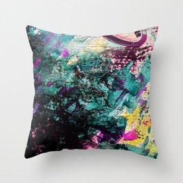Textured Graffiti Print Throw Pillow