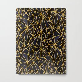 Gold and blue pattern I Metal Print