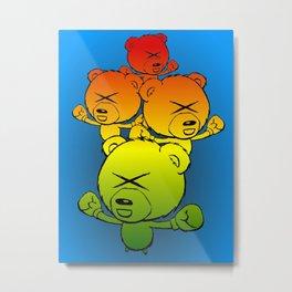 Boxing Bears - cute pugilistic cartoon bears with colorful pizazz Metal Print