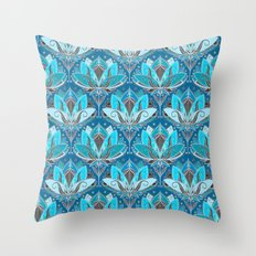 Art Deco Lotus Rising - black, teal & turquoise pattern Throw Pillow