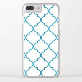Quatrefoil - Cerulean on White Clear iPhone Case