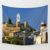portugal Wall Tapestries featuring Monsaraz in the Alentejo, Portugal by Michael Howard