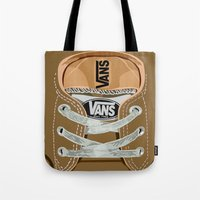 vans Tote Bags featuring Cute brown Vans all star baby shoes apple iPhone 4 4s 5 5s 5c, ipod, ipad, pillow case and tshirt by Three Second