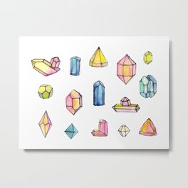 Watercolor Gems Metal Print