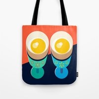 egg Tote Bags featuring Egg by Sam Osborne