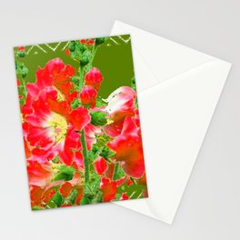 Moss Green Red Orange Holly Hocks Pattern  Color Floral Art Stationery Cards