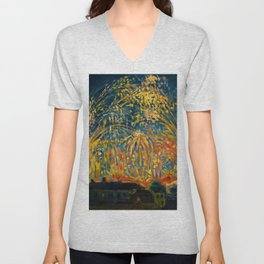 Colorful Summer Fireworks in Nice, France landscape by Nicolai Tarkoff Unisex V-Neck