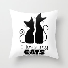 I Love My Cats (Lights) Throw Pillow