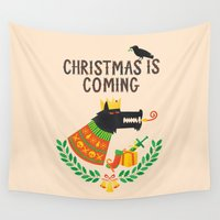 thrones Wall Tapestries featuring Christmas is coming by Wharton