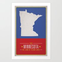 minnesota Art Prints featuring MINNESOTA by Matthew Justin Rupp