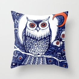 Little owl with moon kids room owl illustration Throw Pillow