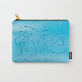 Mermaid line drawing on aqua blue background. Carry-All Pouch