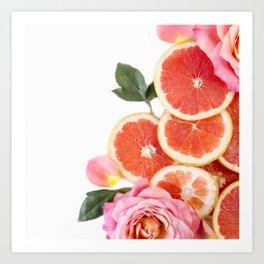 Grapefruit & Roses 04 Art Print