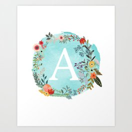 Personalized Monogram Initial Letter A Blue Watercolor Flower Wreath Artwork Art Print
