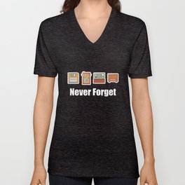Never Forget Floppy Disk, Camera & Radio Unisex V-Neck