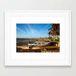 Mazatlan Beach & Boats Framed Art Print