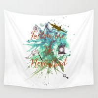 neverland Wall Tapestries featuring Follow me to Neverland by Sybille Sterk