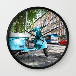 Vintage scooter on street Wall Clock