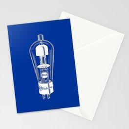 Radio tube vintage electronics on blue back ground Stationery Cards