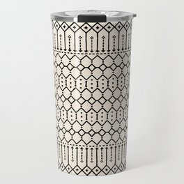 N79 - Farmhouse B&W Traditional Boho Moroccan Style Design. Travel Mug