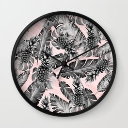 Leaves and pineapples pattern Wall Clock