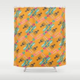 The Basics in Orange Shower Curtain