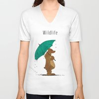 wildlife V-neck T-shirts featuring Wildlife by AhaC