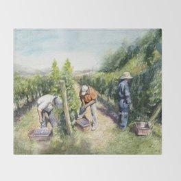 Vineyard Watercolor Landscape Wine Grapes Nature Throw Blanket