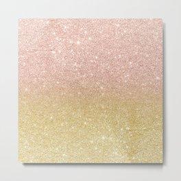 Modern rose gold glitter ombre gold glitter Metal Print