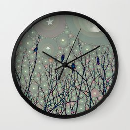 A Dawning with black birds lights on bare branches stars and gibbous moon  Wall Clock