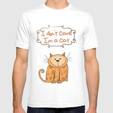 I don't care, I'm a Cat White Mens Fitted Tee MEDIUM