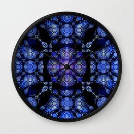 Soul Cathedral Deep Indigo Boho Stained Glass Glow Mandala Wall Clock