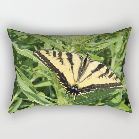 Swallowtail at Rest on Greenery Rectangular Pillow