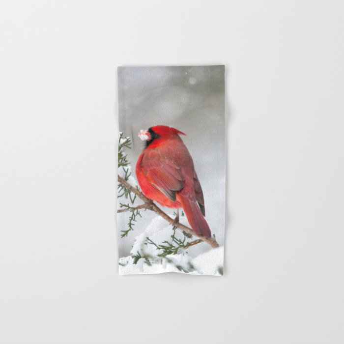 Snow on His Face (Northern Cardinal) Hand & Bath Towel