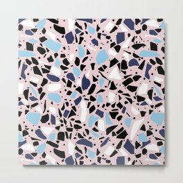 Terrazzo Spot Blues on Blush Metal Print