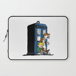 calvin and hobbes police box in action Laptop Sleeve