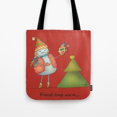 Friends keep warm - red Tote Bag