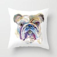 bulldog Throw Pillows featuring Bulldog by coconuttowers