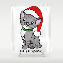 Kitty Christmas Shower Curtain
