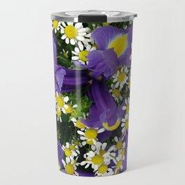 Ultra violet iris flowers and white chamomiles Travel Mug