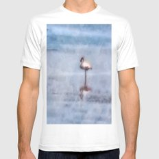 Watercolor Flamingo White Mens Fitted Tee MEDIUM