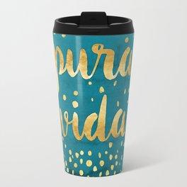 Pura Vida Gold on Teal Travel Mug
