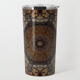 Rich Brown and Gold Textured Mandala Art Travel Mug