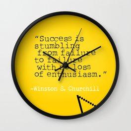 Winston S. Churchill about success Wall Clock