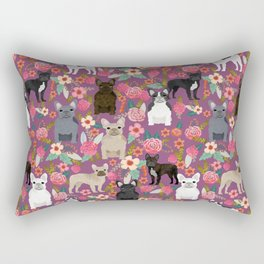 French Bulldog florals mixed coat colors dog breed pet must have gifts frenchies Rectangular Pillow