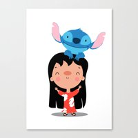 lilo and stitch Canvas Prints featuring Lilo & Stitch by mruburu