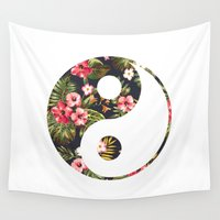 yin yang Wall Tapestries featuring Yin Yang by Hipster