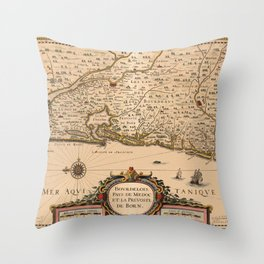 Map Of Bordeaux 1633 Throw Pillow