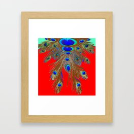 DECORATIVE  RED GREEN BLUE PEACOCK FEATHER JEWELS Framed Art Print